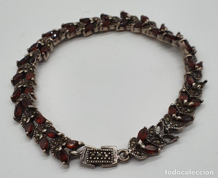 Joyeria: Bella pulsera antigua de eslabones de plata de ley maciza, granates talla marqués y marquesitas . - Foto 2 - 192005620