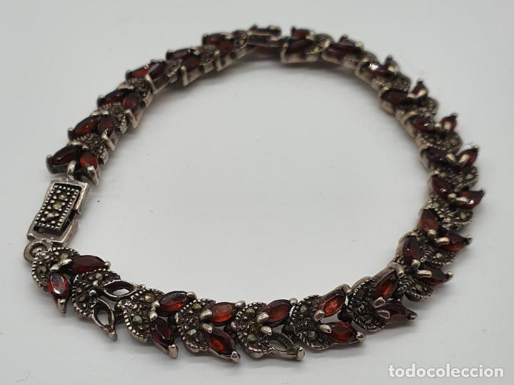 Joyeria: Bella pulsera antigua de eslabones de plata de ley maciza, granates talla marqués y marquesitas . - Foto 3 - 192005620