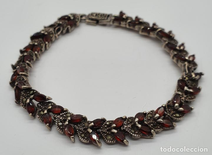 Joyeria: Bella pulsera antigua de eslabones de plata de ley maciza, granates talla marqués y marquesitas . - Foto 4 - 192005620
