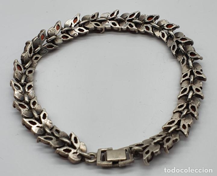 Joyeria: Bella pulsera antigua de eslabones de plata de ley maciza, granates talla marqués y marquesitas . - Foto 6 - 192005620