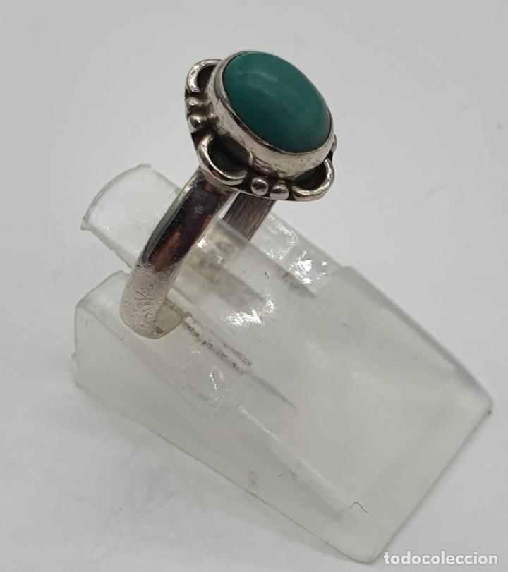 Joyeria: Sortija vintage en plata de ley contrastada y cabujón de piedra azul turquesa . - Foto 3 - 192007897