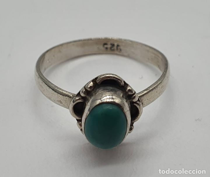 Joyeria: Sortija vintage en plata de ley contrastada y cabujón de piedra azul turquesa . - Foto 5 - 192007897