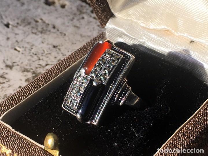 Joyeria: Anillo plata 925 con cristales naturales (carneol y onix) y marquesitas - Foto 4 - 193384715