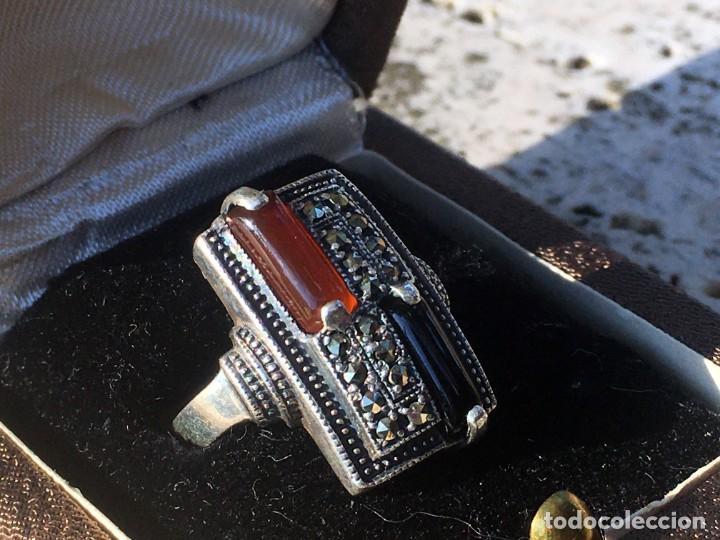 Joyeria: Anillo plata 925 con cristales naturales (carneol y onix) y marquesitas - Foto 6 - 193384715