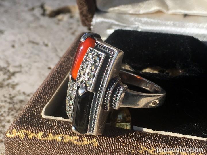Joyeria: Anillo plata 925 con cristales naturales (carneol y onix) y marquesitas - Foto 7 - 193384715