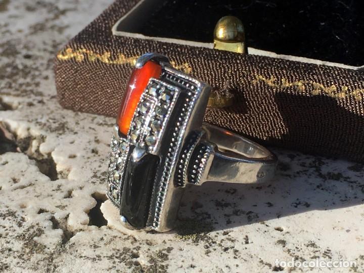 Joyeria: Anillo plata 925 con cristales naturales (carneol y onix) y marquesitas - Foto 9 - 193384715