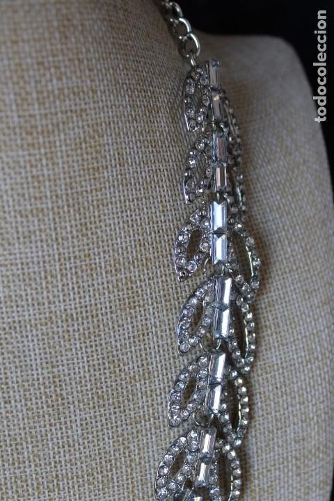 Joyeria: GARGANTILLA COLLAR SIMULANDO PLUMAS DE PAVO REAL CON SIMIL DIAMANTES SOBRE ORO BLANCO LLENADO - Foto 8 - 193939771