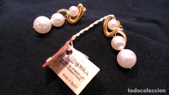 Joyeria: Pendientes vintage de oro Majorica - Foto 6 - 194011945