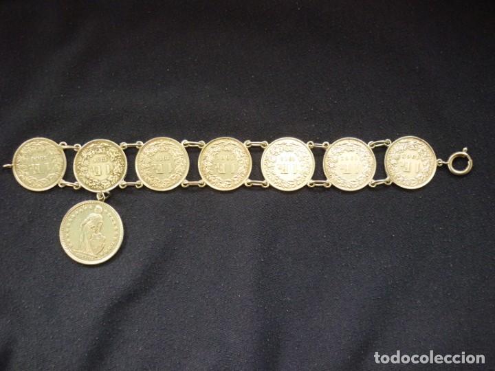 Joyeria: Preciosa pulsera vintage de monedas de plata suizas. - Foto 2 - 194206940