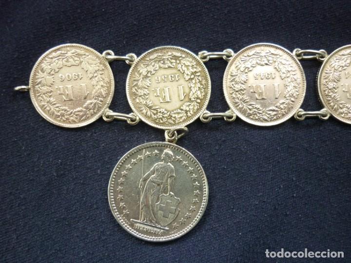 Joyeria: Preciosa pulsera vintage de monedas de plata suizas. - Foto 3 - 194206940
