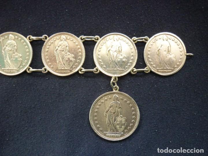 Joyeria: Preciosa pulsera vintage de monedas de plata suizas. - Foto 4 - 194206940