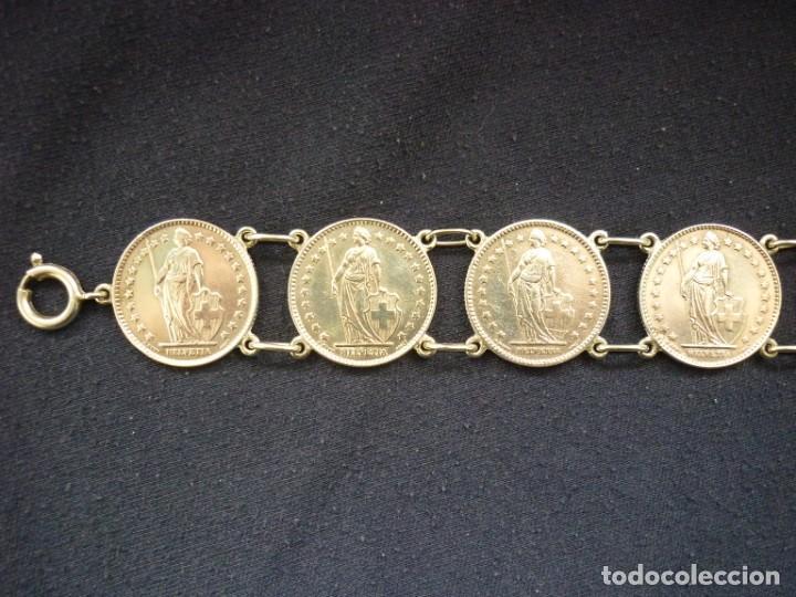 Joyeria: Preciosa pulsera vintage de monedas de plata suizas. - Foto 5 - 194206940