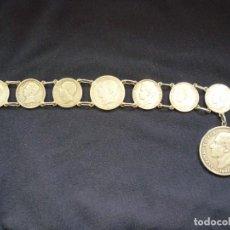 Joyeria: PRECIOSA PULSERA VINTAGE DE MONEDAS DE PLATA ESPAÑOLAS DE ALFONSO XII Y XIII.. Lote 194208618