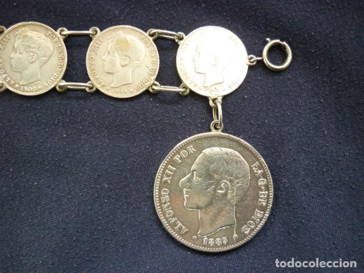 Joyeria: Preciosa pulsera vintage de monedas de plata españolas de Alfonso XII y XIII. - Foto 2 - 194208618