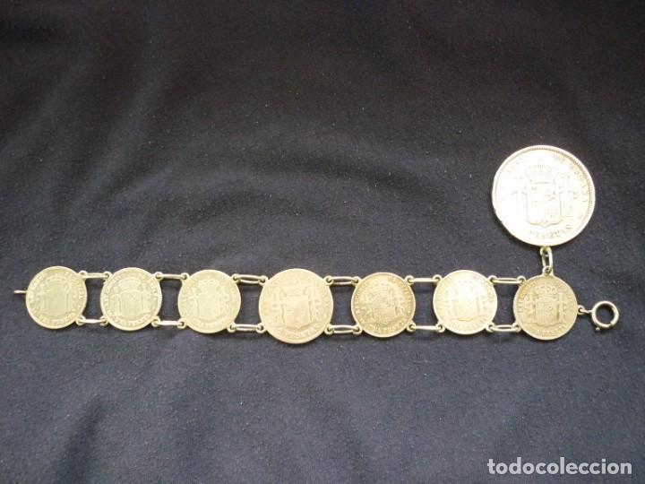 Joyeria: Preciosa pulsera vintage de monedas de plata españolas de Alfonso XII y XIII. - Foto 3 - 194208618