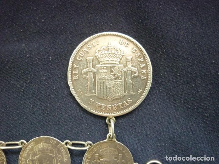 Joyeria: Preciosa pulsera vintage de monedas de plata españolas de Alfonso XII y XIII. - Foto 4 - 194208618