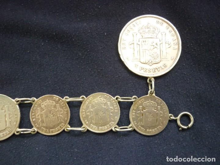 Joyeria: Preciosa pulsera vintage de monedas de plata españolas de Alfonso XII y XIII. - Foto 5 - 194208618