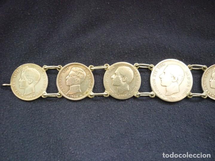 Joyeria: Preciosa pulsera vintage de monedas de plata españolas de Alfonso XII y XIII. - Foto 6 - 194208618
