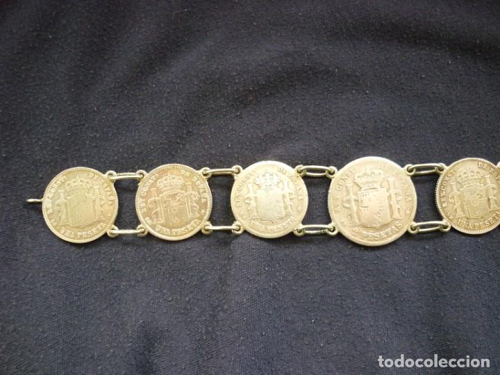 Joyeria: Preciosa pulsera vintage de monedas de plata españolas de Alfonso XII y XIII. - Foto 7 - 194208618