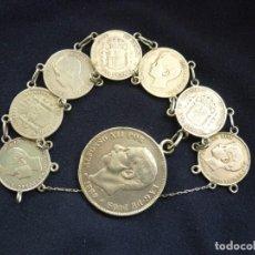 Joyeria: PRECIOSA PULSERA ANTIGUA DE MONEDAS DE PLATA ESPAÑOLAS DE ALFONSO XII Y XIII.. Lote 194210585