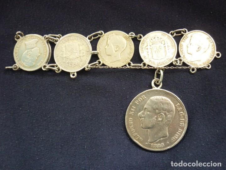 Joyeria: Preciosa pulsera antigua de monedas de plata españolas de Alfonso XII y XIII. - Foto 2 - 194210585