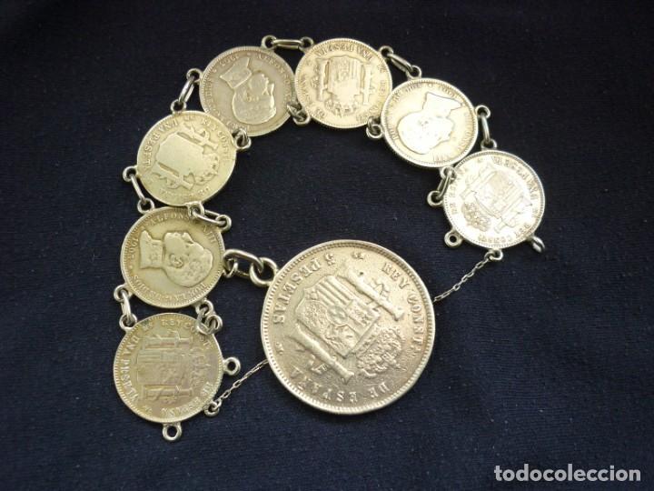 Joyeria: Preciosa pulsera antigua de monedas de plata españolas de Alfonso XII y XIII. - Foto 3 - 194210585