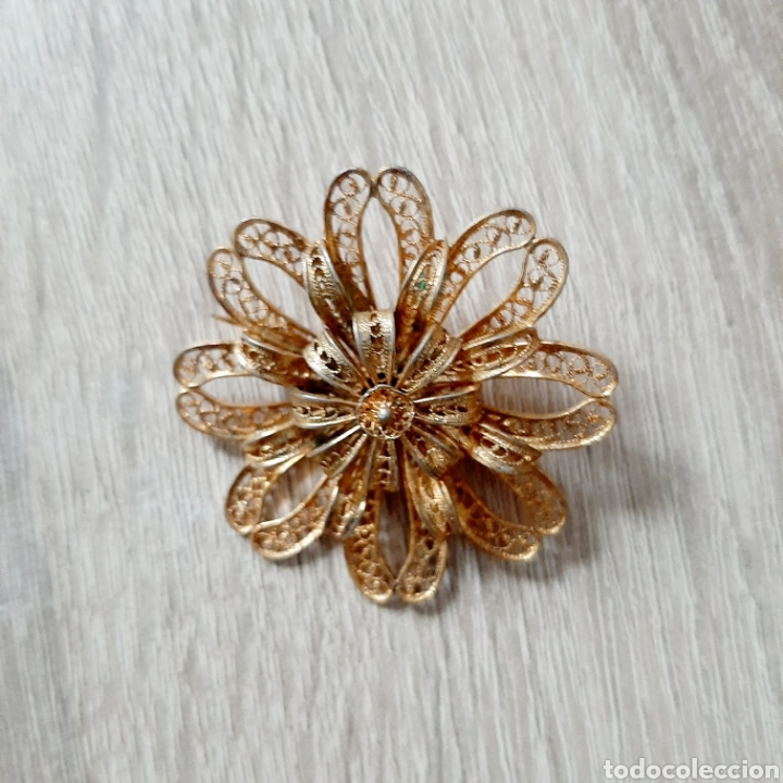 Joyeria: Antiguo broche flor filigrana en dorado - Foto 2 - 194280521