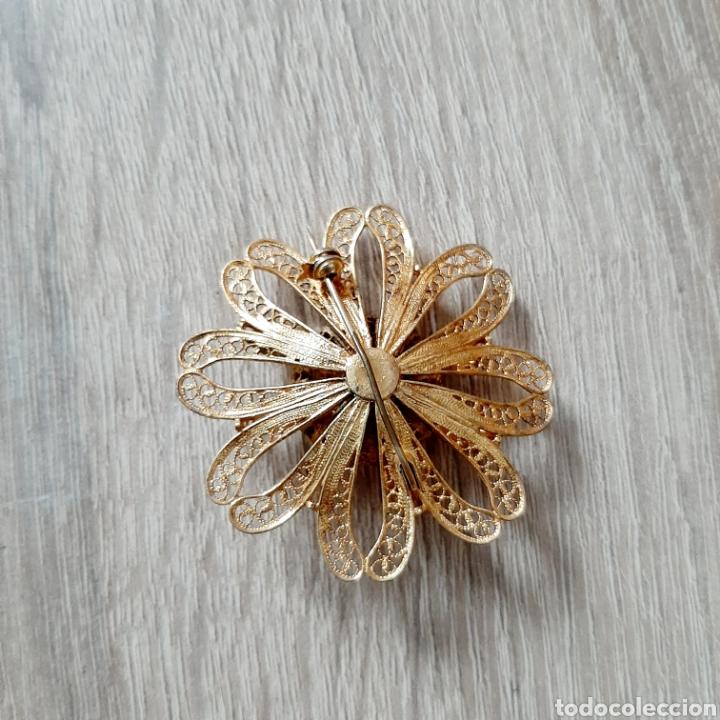 Joyeria: Antiguo broche flor filigrana en dorado - Foto 3 - 194280521