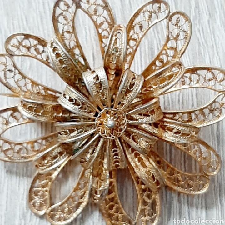 Joyeria: Antiguo broche flor filigrana en dorado - Foto 4 - 194280521