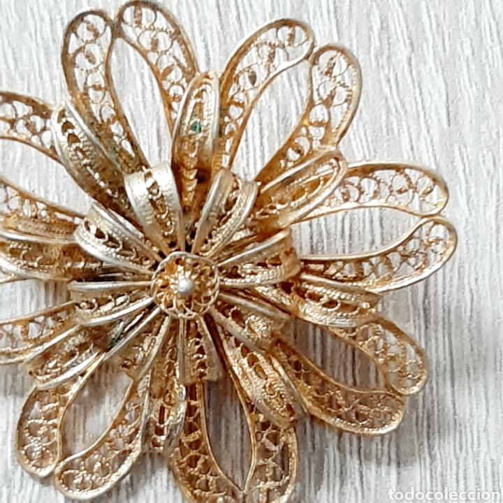 Joyeria: Antiguo broche flor filigrana en dorado - Foto 5 - 194280521