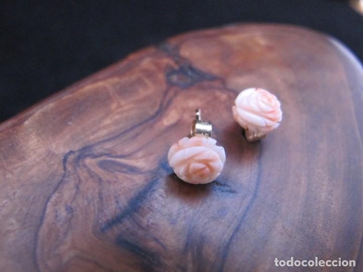 Joyeria: PENDIENTES VINTAGE, Coral rosa MONTADO EN ORO DE 9K/375. CONTRASTADO. - Foto 4 - 194398918