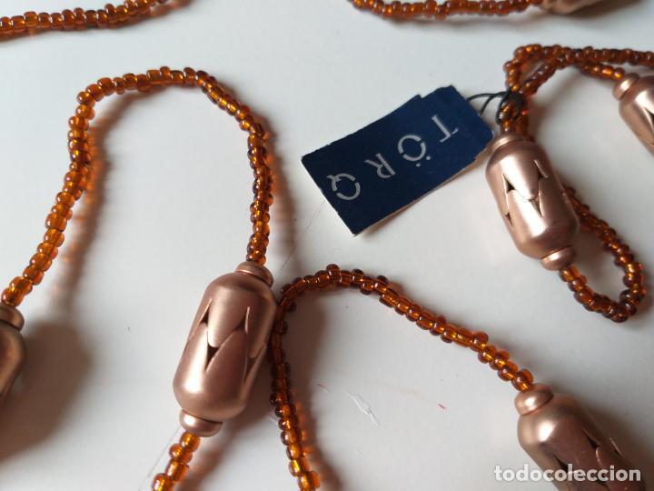 Joyeria: Antiguo collar de bolas pequeñas y grande. Color naranja. Dos vueltas. Marca torq. Nuevo - Foto 3 - 194499141