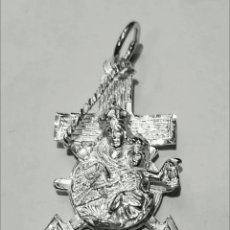 Joyeria: COLGANTE CRUZ MARINERA VIRGEN CARMEN EN PLATA DE LEY 20X34MM + ANILLA. Lote 194516410