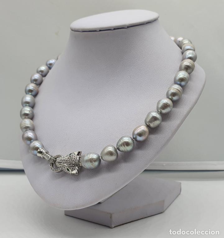 Joyeria: Espectacular gargantilla de lujo tipo Cartier, perlas cultivadas autenticas y pantera chapada en oro - Foto 2 - 194664500