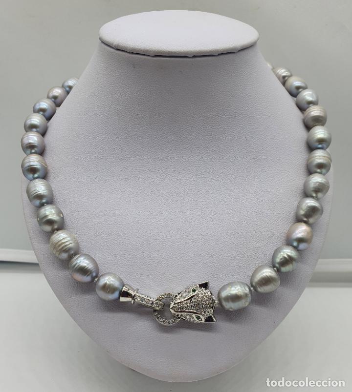 Joyeria: Espectacular gargantilla de lujo tipo Cartier, perlas cultivadas autenticas y pantera chapada en oro - Foto 3 - 194664500