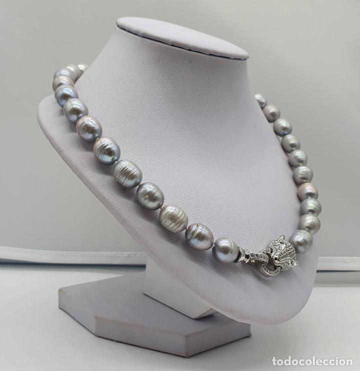 Joyeria: Espectacular gargantilla de lujo tipo Cartier, perlas cultivadas autenticas y pantera chapada en oro - Foto 4 - 194664500