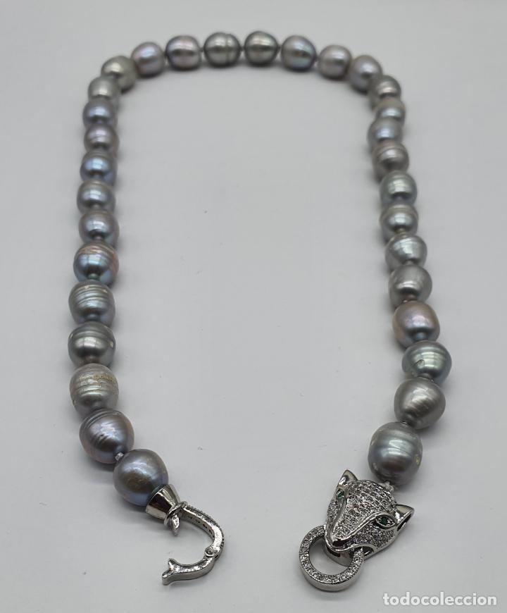 Joyeria: Espectacular gargantilla de lujo tipo Cartier, perlas cultivadas autenticas y pantera chapada en oro - Foto 6 - 194664500