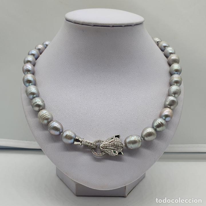 Joyeria: Espectacular gargantilla de lujo tipo Cartier, perlas cultivadas autenticas y pantera chapada en oro - Foto 7 - 194664500
