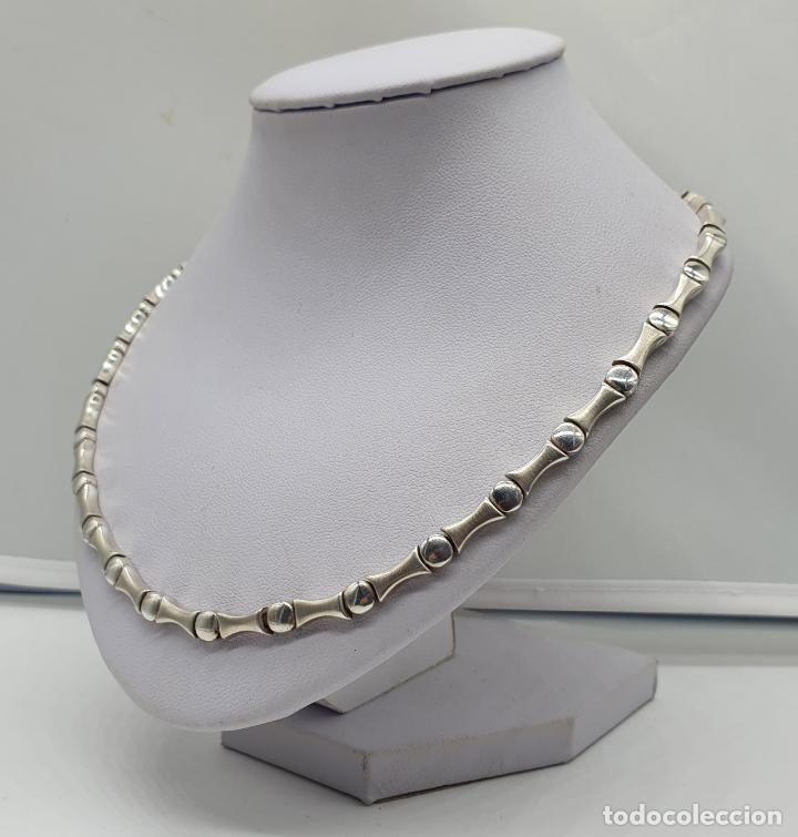 Joyeria: Sofisticada gargantilla de eslabones en plata de ley mate y brillante, con contraste . - Foto 2 - 194668020