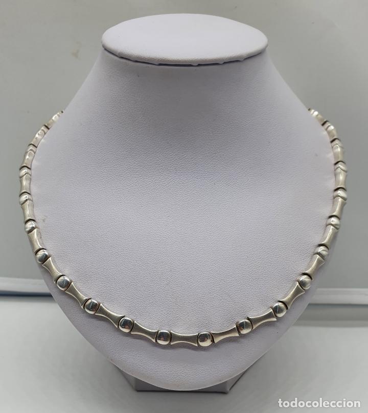 Joyeria: Sofisticada gargantilla de eslabones en plata de ley mate y brillante, con contraste . - Foto 3 - 194668020