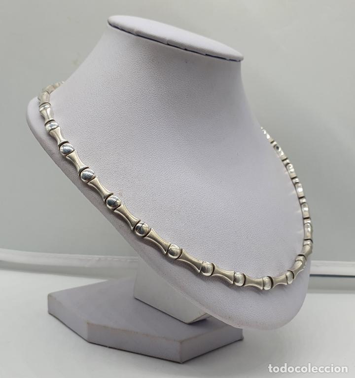 Joyeria: Sofisticada gargantilla de eslabones en plata de ley mate y brillante, con contraste . - Foto 4 - 194668020