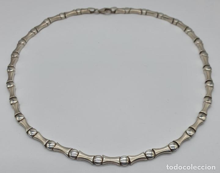 Joyeria: Sofisticada gargantilla de eslabones en plata de ley mate y brillante, con contraste . - Foto 5 - 194668020