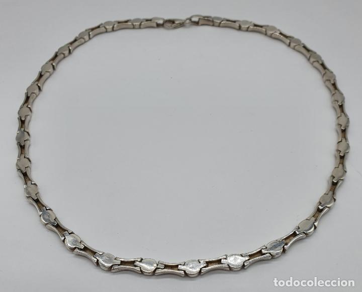 Joyeria: Sofisticada gargantilla de eslabones en plata de ley mate y brillante, con contraste . - Foto 6 - 194668020