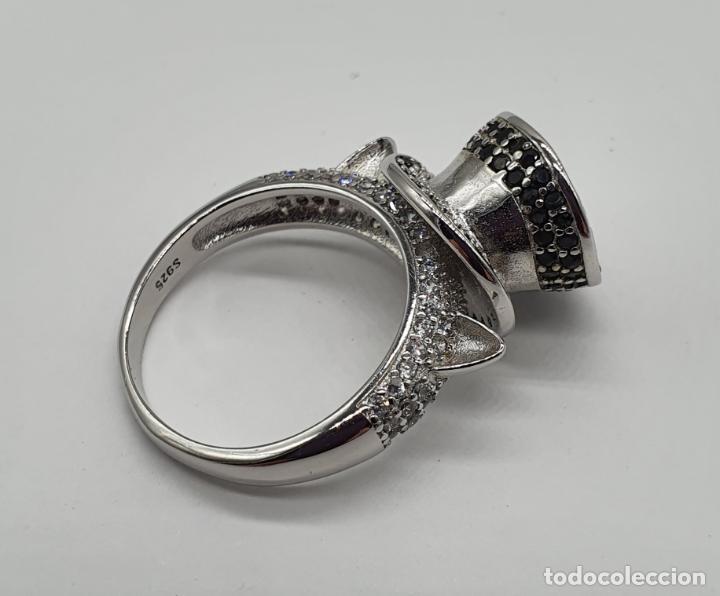Joyeria: Original anillo de diseño sombrero de copa y orejas de gato en plata de ley, circonitas y espinelas - Foto 6 - 194732231