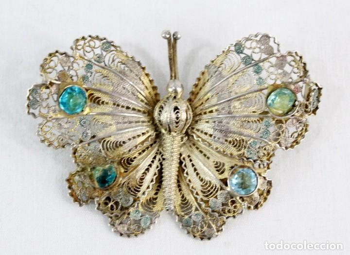 Joyeria: Gran broche mariposa plata 800, oro vermeil y engarces. Fines s XIX - Foto 2 - 194754827