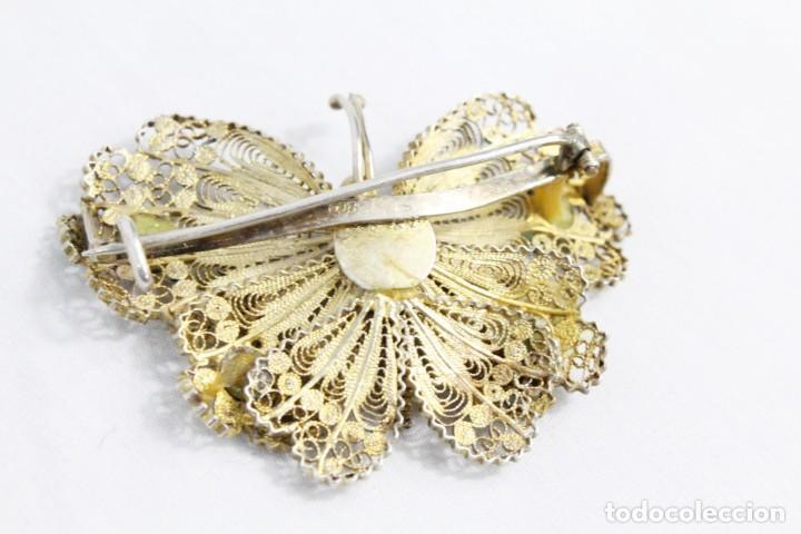 Joyeria: Gran broche mariposa plata 800, oro vermeil y engarces. Fines s XIX - Foto 3 - 194754827