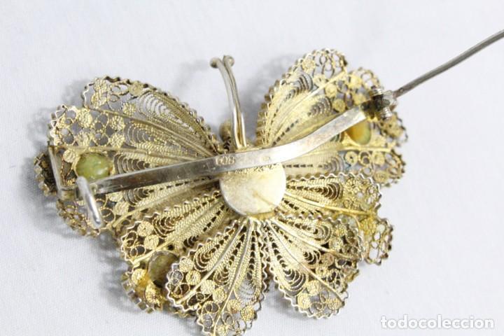 Joyeria: Gran broche mariposa plata 800, oro vermeil y engarces. Fines s XIX - Foto 4 - 194754827