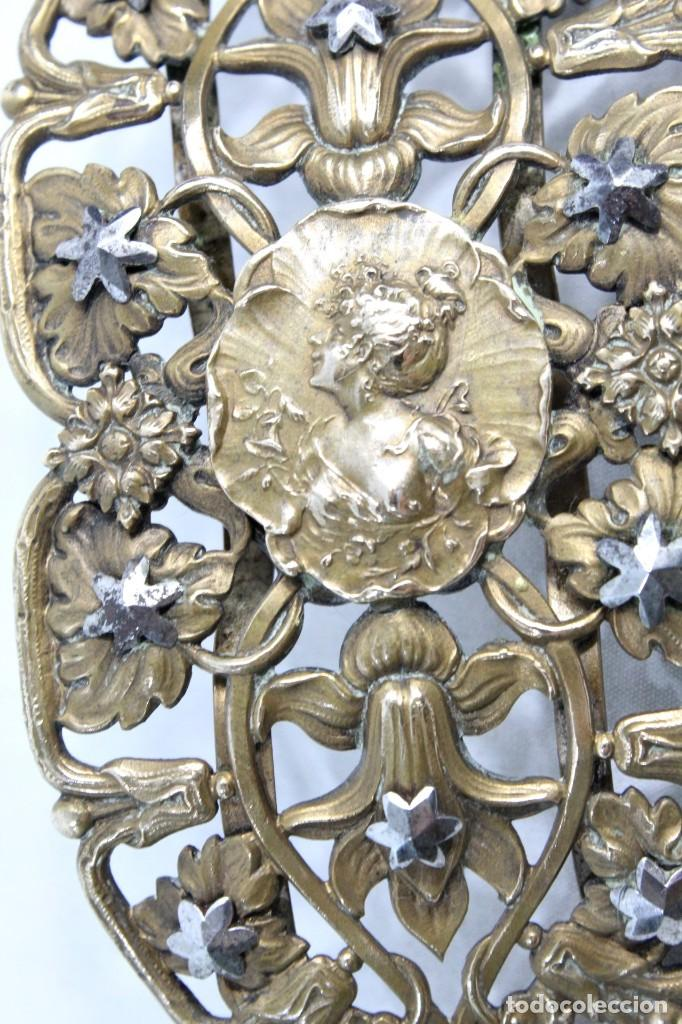 Joyeria: Gran broche adorno victoriano, bronce y estrellas de metal. Original de época, s XIX - Foto 2 - 194754950