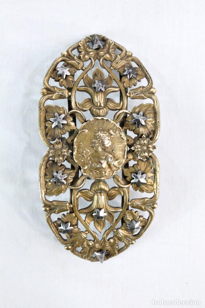 Joyeria: Gran broche adorno victoriano, bronce y estrellas de metal. Original de época, s XIX - Foto 3 - 194754950