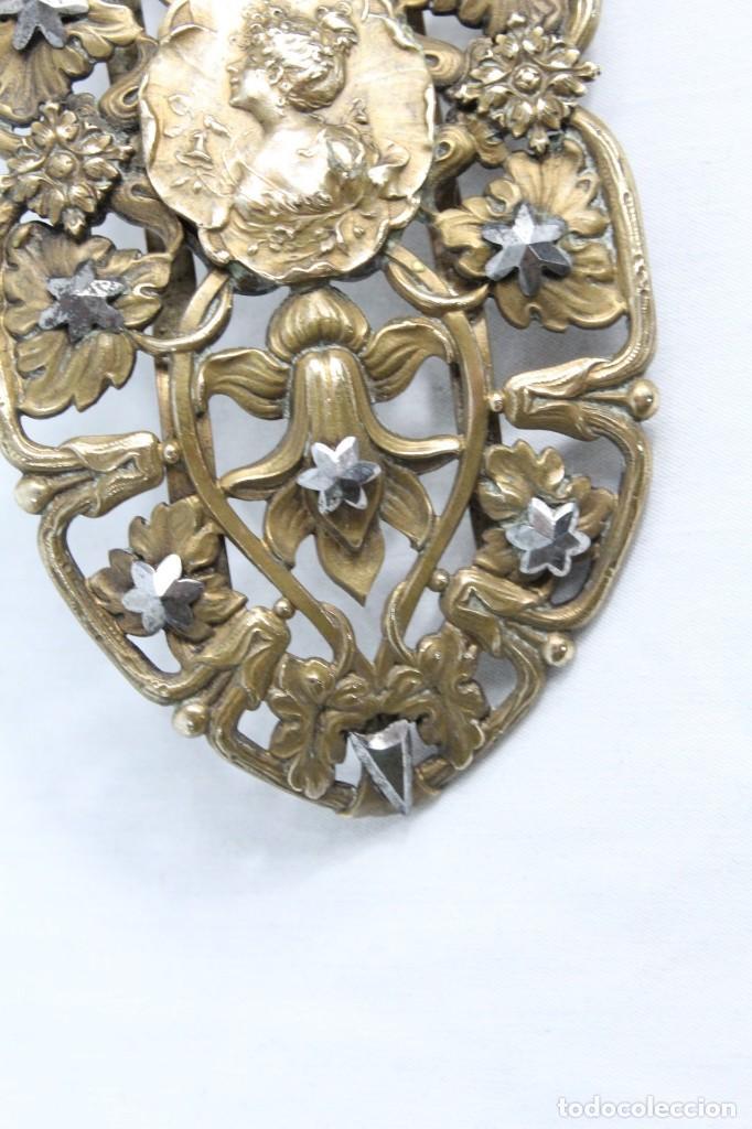 Joyeria: Gran broche adorno victoriano, bronce y estrellas de metal. Original de época, s XIX - Foto 4 - 194754950